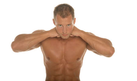 Athletic sexy male body builder photo