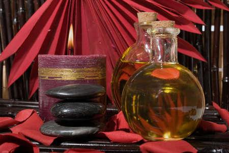 Essential body  oils in bottles
