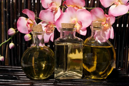 Essential body  oils in bottles for bodycare Stock Photo - 3401488