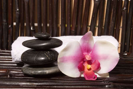 stones and orchid flowers on bamboo Stock Photo - 3401424