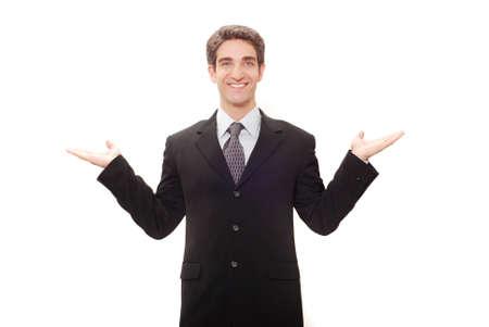 Businessman in dark suit giving a speech photo