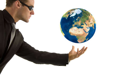 Businessman protecting his global vision Stock Photo - 3406879