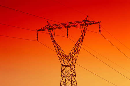 powerline: High voltage electrical powerline for energy Stock Photo