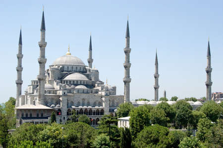 View of Blue Mosque in Istanbul Turkey 스톡 콘텐츠