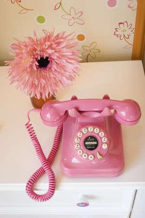 Pink téléphone et de nuit sur la marguerite Banque d'images - 3406145