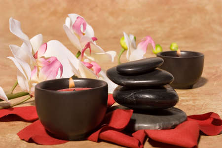 rejuvenating:  stones and orchid flowers Stock Photo