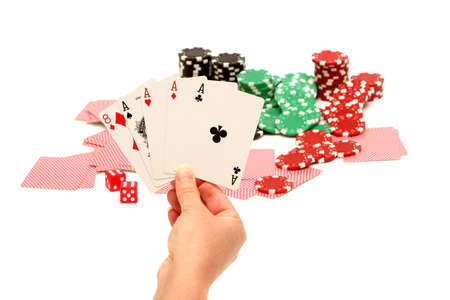 Colorful poker chips on white background Imagens