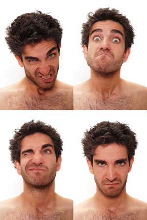 bore: Young man with multiple face expressions