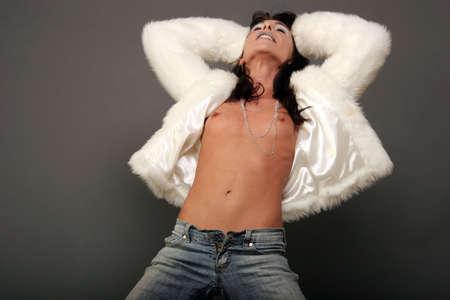 Pretty sexy woman in fur jacket Stock Photo