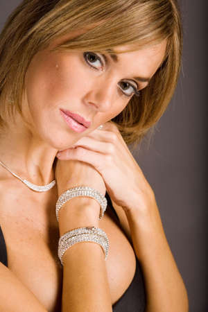 Pretty woman with bracelet Stock Photo