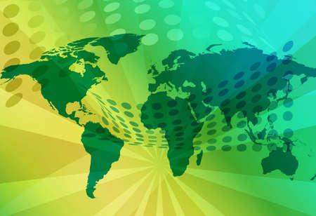 Technology world map illustration Banco de Imagens