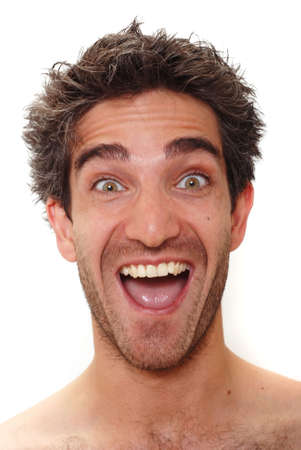 silly face: Man with happy facial expression Stock Photo