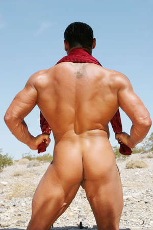 Back of a nude body builder