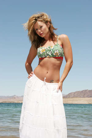 Beautiful sexy young woman on the beach Stock fotó