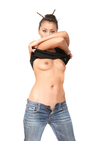 Pretty sexy asian woman taking her shirt off photo