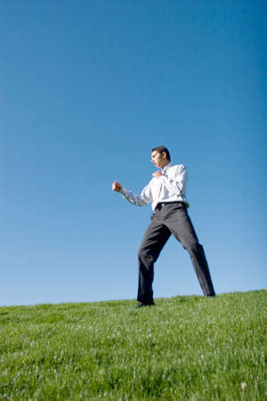Businessman doing karate moves on green grass Stock Photo - 3562672