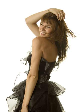 dancing club: Sexy woman dancing in black dress