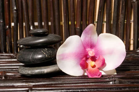 insent: Massage stones and orchid flowers on bamboo