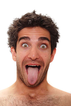 Man with surprised facial expression photo