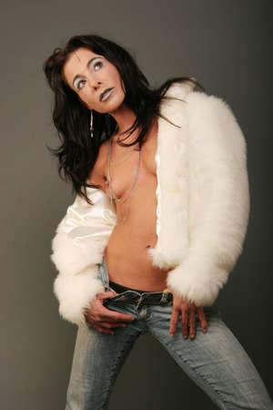 Sexy woman in white jacket Stock Photo