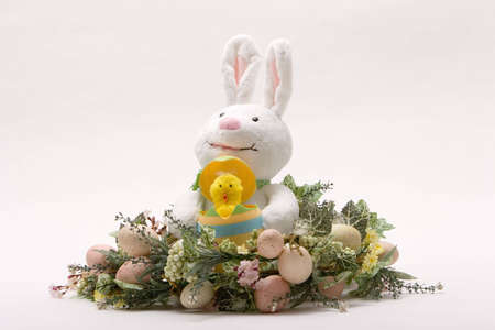 wrath: Decorative easter objects on isoleted white background