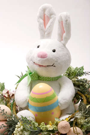Decorative easter objects on isoleted white background photo