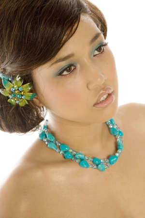 barrett: Beautiful asian woman with makeup and hairstyle Stock Photo