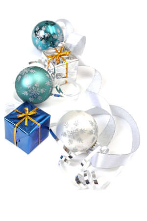 Christmas ornaments and gift boxes on white background Stock Photo - 3661695