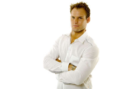 haircut: Young male in casual shirt against white background Stock Photo