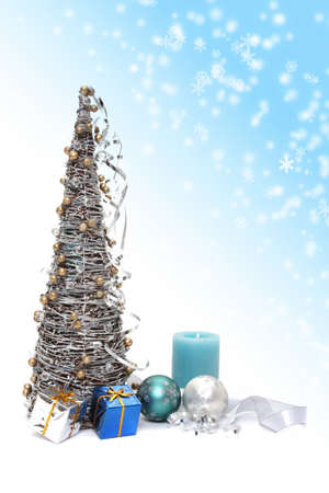 Christmas tree and decorations on white background