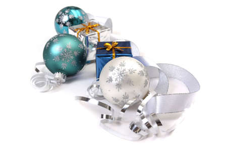 Christmas ornaments and gift boxes on white background Stock Photo - 3699643