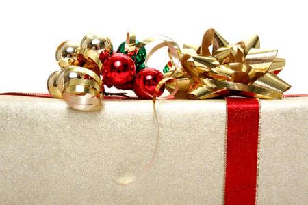 Christmas gift on white background photo