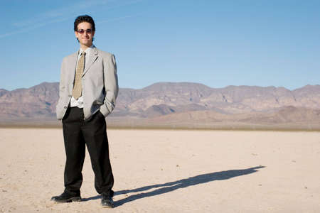 Young businessman in the desert Stock Photo - 3698878
