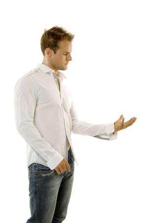 A young casual man giving speech Фото со стока