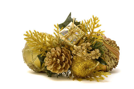Christmas decorations on white background Stock Photo - 3867697
