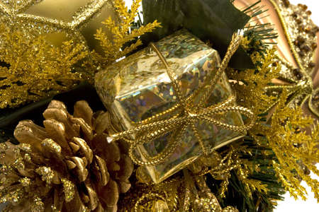 Gold colored shiny Christmas decorations  photo