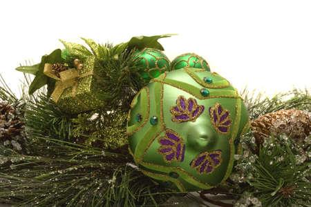 Christmas decorations on white background Stock Photo - 3867731