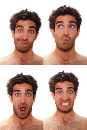 clueless: Young man with multiple face expressions