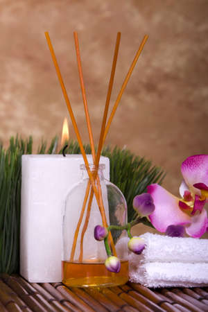 scent: Candle, scent and orchid flowers for spa