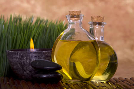 Relaxing candle and massage oil bottles front of green grass Stock Photo - 4000800