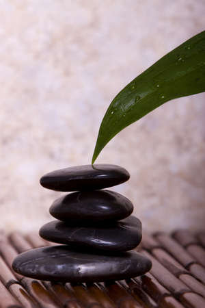 Green lily leaf touching balanced peebles on bamboo Stock Photo - 4000781