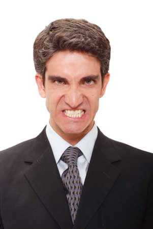 Businessman with angry facial expression photo