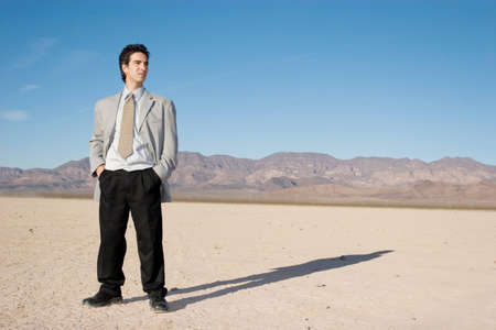 Young businessman in the desert Stock Photo - 4158830