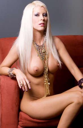 Sexy pretty woman posing topless
