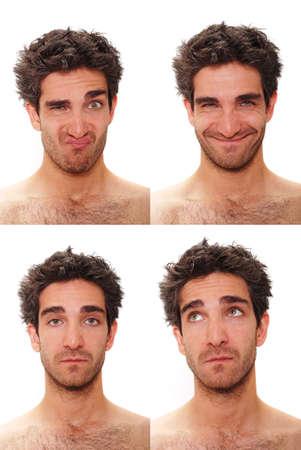 複数の顔の表情と若い男 写真素材