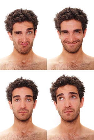 face to face: Young man with multiple face expressions