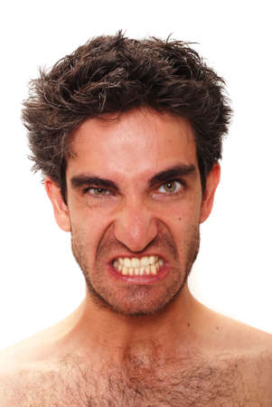 facial expression: Man with angry facial expression Stock Photo