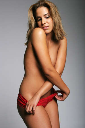 red panties: Sexy pretty woman in red panties Stock Photo