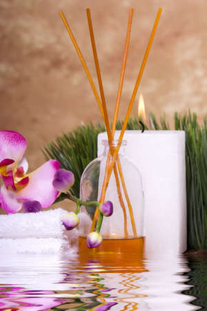 Candle, scent and orchid flowers for spa Stock Photo - 4601003