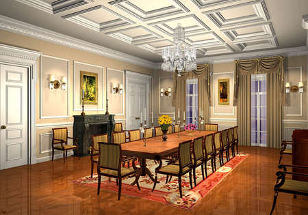 chandelier: 3D render of a classic dining room Stock Photo